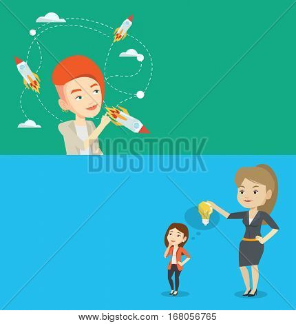 Two business banners with space for text. Vector flat design. Horizontal layout. Woman looking at flying rockets symbolizing business start up. Woman came up with an idea for a business start up.