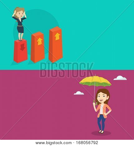 Two business banners with space for text. Vector flat design. Horizontal layout. Frightened bankrupt clutching her head. Young bankrupt standing on chart going down. Concept of business bankruptcy.
