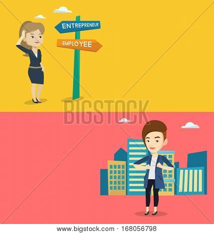 Two business banners with space for text. Vector flat design. Horizontal layout. Businesswoman opening jacket like superhero. Business woman superhero. business woman taking off jacket like superhero