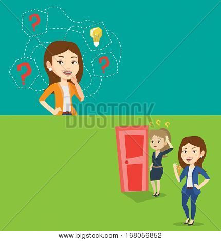 Two business banners with space for text. Vector flat design. Horizontal layout. Woman having business idea. Businesswoman standing with question marks and idea bulb above head. Business idea concept.