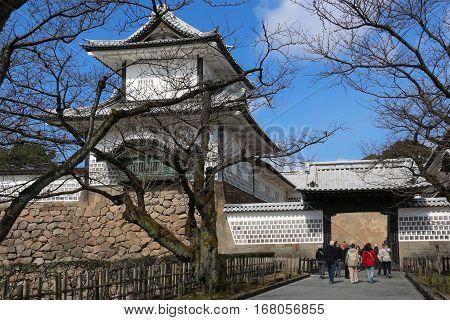 Ishikawamon Gate from Kanazawa Castle Park, Japan, architecture