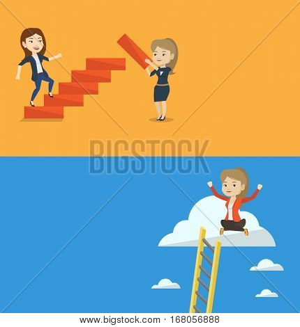 Two business banners with space for text. Vector flat design. Horizontal layout. Woman runs up the career ladder while another woman builds it. Girl climbing the career ladder. Business career concept