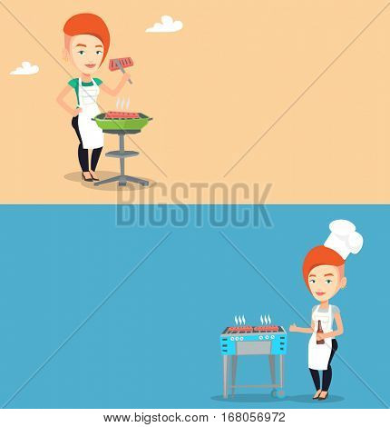 Two food banners with space for text. Vector flat design. Horizontal layout. Caucasian woman cooking steak on barbecue grill. Woman preparing steak on barbecue grill. Woman having outdoor barbecue.