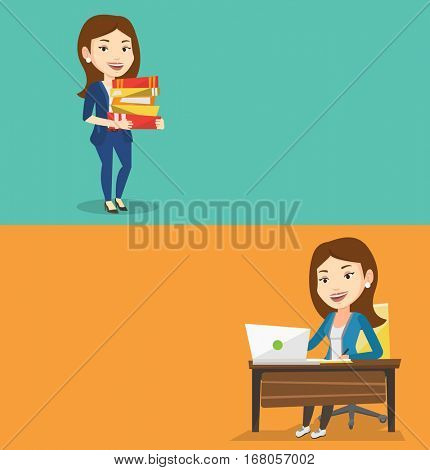 Two educational banners with space for text. Vector flat design. Horizontal layout. Student sitting at table with laptop. Student using laptop for education. Woman working on laptop and writing notes.