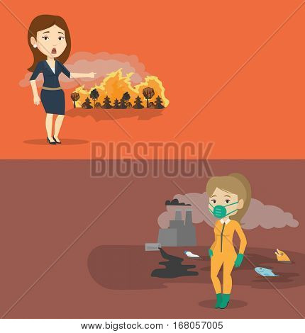 Two ecology banners with space for text. Vector flat design. Horizontal layout. Woman standing on the background of forest fire. Woman pointing at forest fire. Concept of environmental destruction.