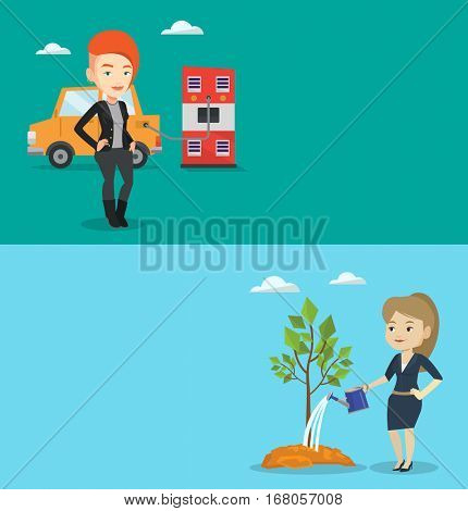 Two ecology banners with space for text. Vector flat design. Horizontal layout. Caucasian woman charging electric car at charging station. Young woman standing near power supply for electric car.