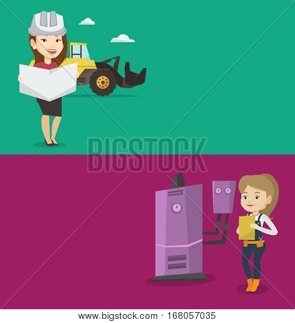 Two construction banners with space for text. Vector flat design. Horizontal layout. Engineer watching a blueprint at construction site. Engineer with blueprint standing on the background of excavator