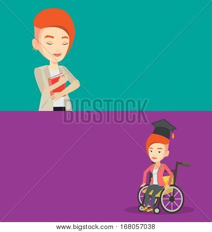 Two educational banners with space for text. Vector flat design. Horizontal layout. Graduate sitting in wheelchair. Student sitting in wheelchair. Disabled caucasian graduate sitting in wheelchair.