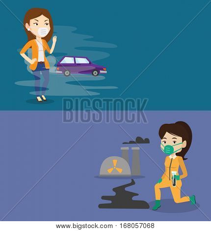 Two ecology banners with space for text. Vector flat design. Horizontal layout. Woman standing on the background of car with traffic fumes. Woman wearing mask to reduce the effect of traffic pollution