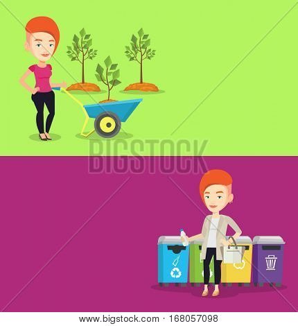 Two ecology banners with space for text. Vector flat design. Horizontal layout. Caucasian woman throwing away garbage. Woman standing near four bins and throwing away garbage in an appropriate bin.
