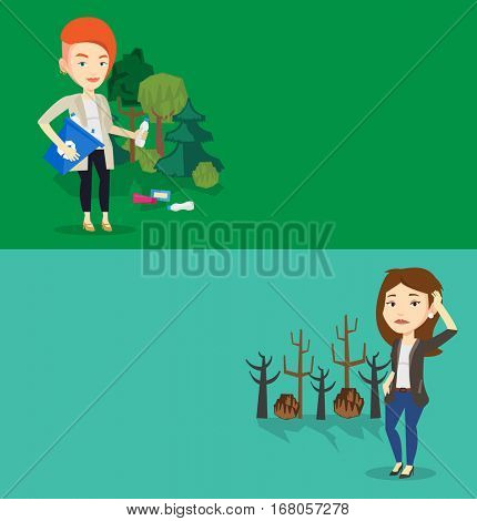 Two ecology banners with space for text. Vector flat design. Horizontal layout. Caucasian woman scratching head on the background of dead trees. Dead forest caused by global warming or wildfire.
