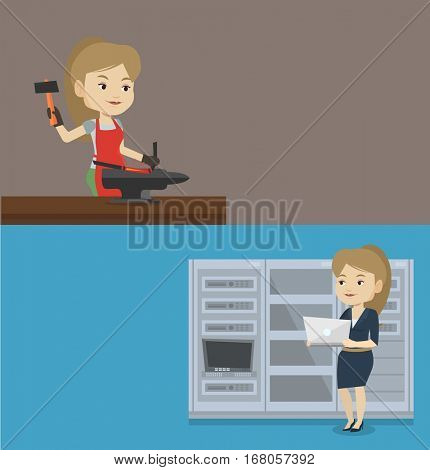 Two industrial banners with space for text. Vector flat design. Horizontal layout. Caucasian engineer with laptop working in network server room. Young network engineer using laptop in server room.