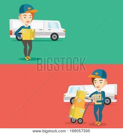 Two industrial banners with space for text. Vector flat design. Horizontal layout. Caucasian delivery courier holding box on the background of delivery van. Delivery courier carrying cardboard box.