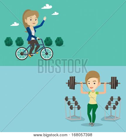 Two lifestyle banners with space for text. Vector flat design. Horizontal layout. Young caucasian woman riding a bicycle in park. Cyclist riding bicycle and waving hand. Woman on a bicycle outdoors.