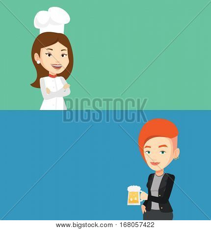 Two food banners with space for text. Vector flat design. Horizontal layout. Female caucasian cheerful chief cook in uniform and hat standing with arms crossed. Young confident female chef cook.