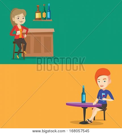 Two food banners with space for text. Vector flat design. Horizontal layout. Caucasian woman sitting at the bar counter. Happy woman drinking wine in the bar. Woman spending her spare time in the bar.