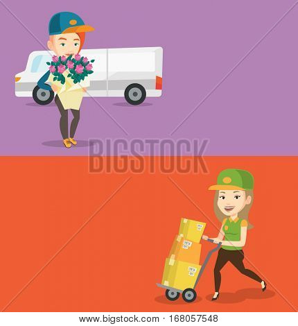 Two industrial banners with space for text. Vector flat design. Horizontal layout. Caucasian delivery courier holding bouquet of flowers. Young female worker of delivery service delivering flowers.
