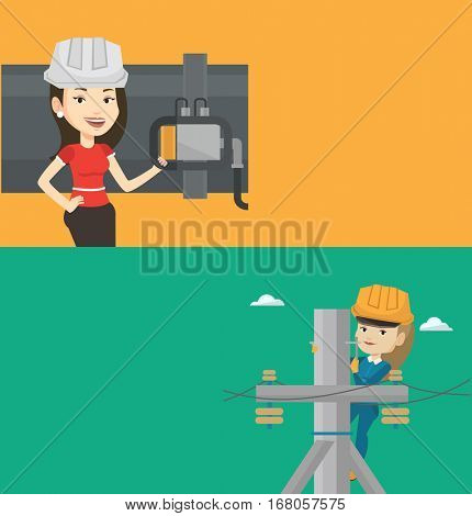 Two industrial banners with space for text. Vector flat design. Horizontal layout. Caucasian electrician in hard hat working on electric power pole. Young electrician at work on electric power pole.