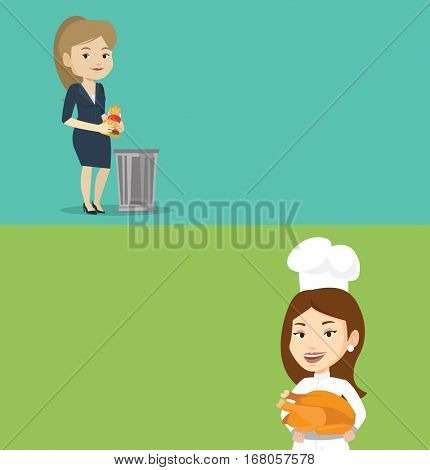 Two food banners with space for text. Vector flat design. Horizontal layout. Caucasian woman putting junk food into a trash bin. Woman refusing to eat junk food. Chief cook holding roasted chicken.