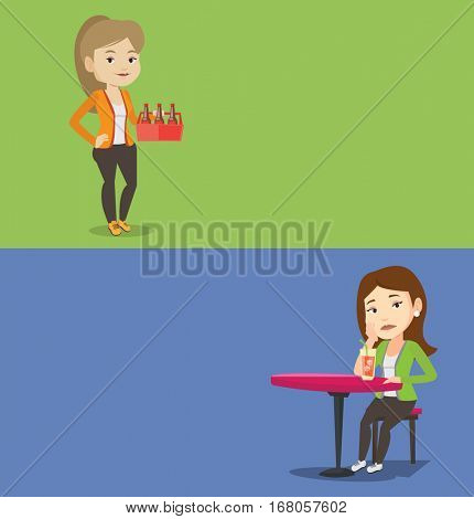 Two drinks banners with space for text. Vector flat design. Horizontal layout. Happy woman holding pack of beer. Full length of caucasian woman carrying a six pack of beer. Young woman buying beer.