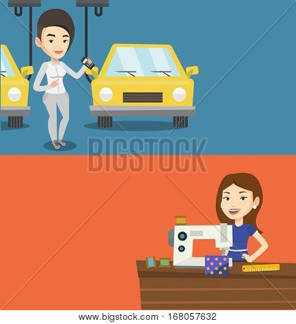Two industrial banners with space for text. Vector flat design. Horizontal layout. Caucasian worker of car factory. Woman at work on car factory. Woman controlling automated assembly line for cars.