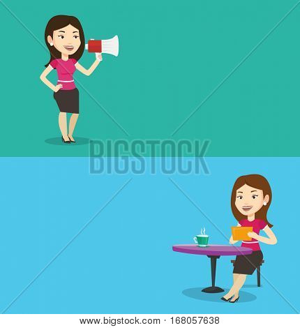 Two media banners with space for text. Vector flat design. Horizontal layout. Business woman promoter holding megaphone. Business woman speaking into a megaphone. Woman advertising using megaphone.