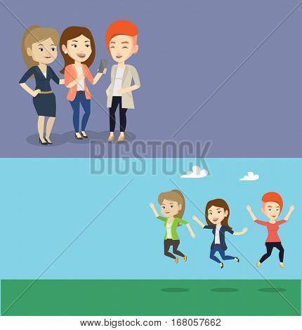 Two lifestyle banners with space for text. Vector flat design. Horizontal layout. Group of young people jumping in park. Group of cheerful friends having fun and jumping outdoors. Friendship concept.