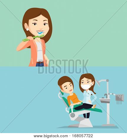 Two medical banners with space for text. Vector flat design. Horizontal layout. Young caucasian woman sitting in dental chair. Dentist and patient in dental clinic. Patient on reception at the dentist