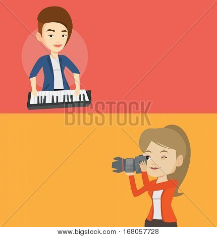 Two media banners with space for text. Vector flat design. Horizontal layout. Musician playing piano. Pianist playing upright piano. Young artist playing on piano. Young photographer taking a photo.