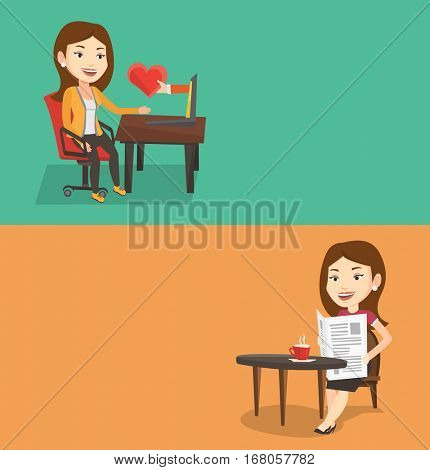 Two media banners with space for text. Vector flat design. Horizontal layout. woman looking for online date. Woman using laptop for dating online. Woman dating online and getting virtual love message.