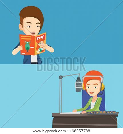 Two media banners with space for text. Vector flat design. Horizontal layout. Caucasian woman reading a magazine. Young woman standing with magazine in hands. Woman reading good news in a magazine.