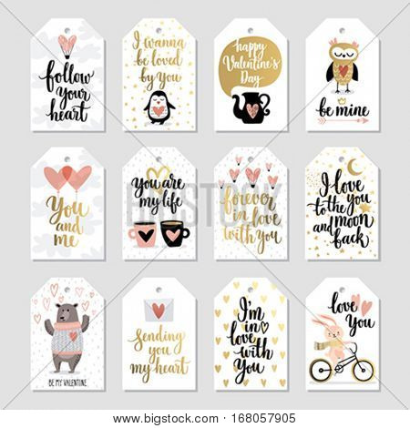 Valentine`s Day Callygraphic gift tags set - hand drawn Vector illustration.