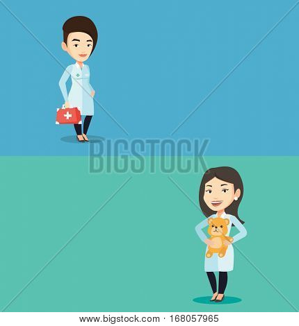 Two medical banners with space for text. Vector flat design. Horizontal layout. Young caucasian doctor in medical gown holding first aid box. Friendly doctor in uniform standing with first aid kit.