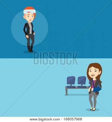 Two medical banners with space for text. Vector flat design. Horizontal layout. Caucasian woman with bandages over her head. Injured woman with bandaged head. Injured woman wearing an arm brace.