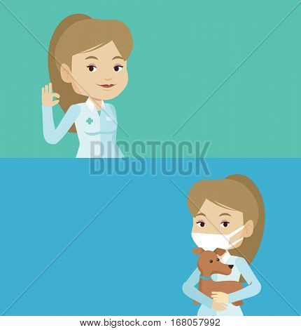 Two medical banners with space for text. Vector flat design. Horizontal layout. Doctor holding medical injection syringe. Doctor standing with syringe. Doctor holding a syringe ready for injection.