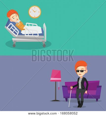 Two medical banners with space for text. Vector flat design. Horizontal layout. Sick woman with fever laying in bed. Sick woman measuring temperature with thermometer. Sick woman suffering from cold.