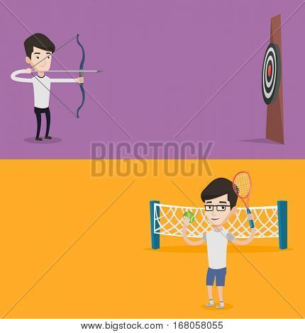 Two sport banners with space for text. Vector flat design. Horizontal layout. Player standing on the tennis court. Tennis player holding a racket and a ball. Young caucasian man playing tennis.