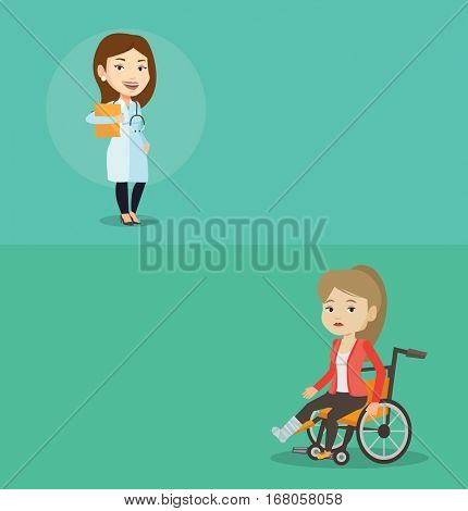 Two medical banners with space for text. Vector flat design. Horizontal layout. Doctor with stethoscope and folder. Doctor carrying folder of patient. Doctor holding folder with medical information.
