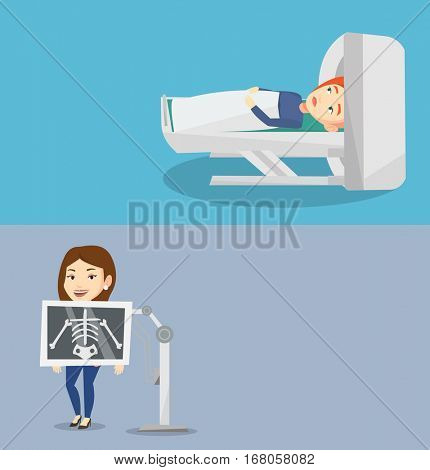 Two medical banners with space for text. Vector flat design. Horizontal layout. Caucasian woman undergoes a magnetic resonance imaging scan test. Magnetic resonance imaging machine scanning patient.