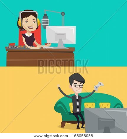 Two media banners with space for text. Vector flat design. Horizontal layout. Female caucasian dj working in front of mixing console on the radio. Cheerful dj in headset working on a radio station.