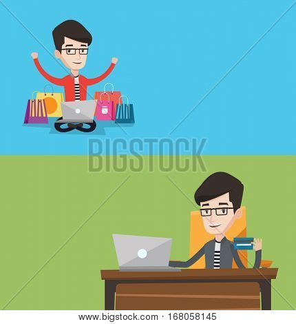 Two shopping banners with space for text. Vector flat design. Horizontal layout. Happy caucasian man with hands up using laptop for shopping online. Smiling young man doing online shopping at home.