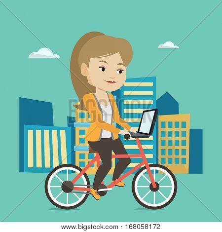 Caucasian woman riding a bicycle to work in the city. Businesswoman with laptop on a bike. Businesswoman working on a laptop while riding a bicycle. Vector flat design illustration. Square layout.