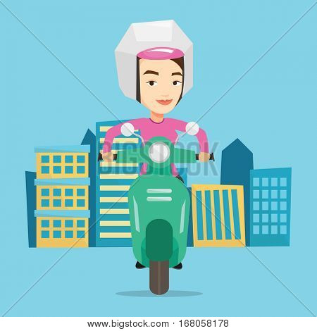 Young caucasian woman riding a scooter on a city background. Young woman in helmet driving a scooter in the city street. Smiling woman driving a scooter. Vector flat design illustration. Square layout