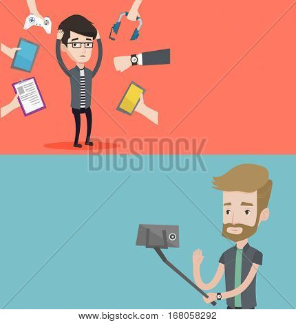 Two technology banners with space for text. Vector flat design. Horizontal layout. Man making photo with a selfie-stick. Man making selfie with cellphone. Young man taking selfie and waving his hand.