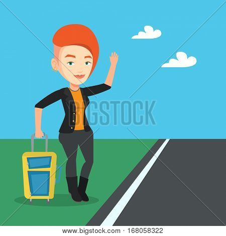 Young caucasian woman with suitcase hitchhiking on roadside. Hitchhiking woman trying to stop a car on a highway. Woman catching taxi car by waving hand. Vector flat design illustration. Square layout