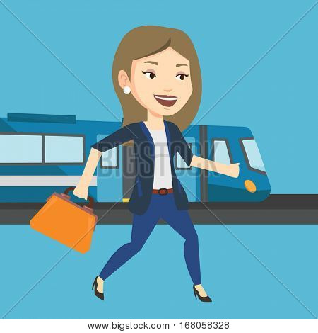 Young caucasian business woman walking on the train platform. Business woman going out of train. Happy business woman walking on the train station. Vector flat design illustration. Square layout.