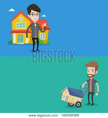 Two real estate banners with space for text. Vector flat design. Horizontal layout. Caucasian house owner holding key. Owner with key standing on the background of house. Happy new owner of a house.