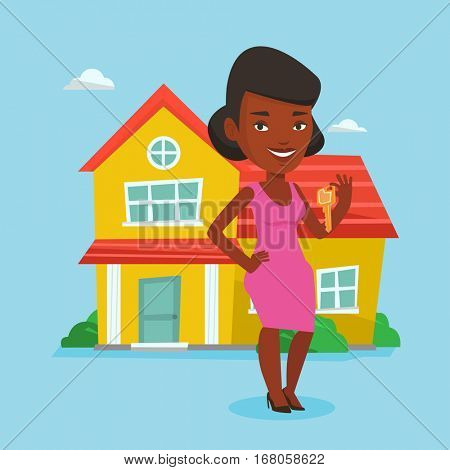 Young female real estate agent holding keys. Smiling real estate agent with keys standing on the background of house. Happy new owner with house keys . Vector flat design illustration. Square layout.