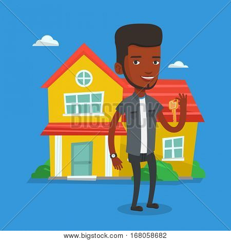 African real estate agent holding key. Smiling real estate agent with keys standing on the background of house. Happy new owner of a house with key. Vector flat design illustration. Square layout.