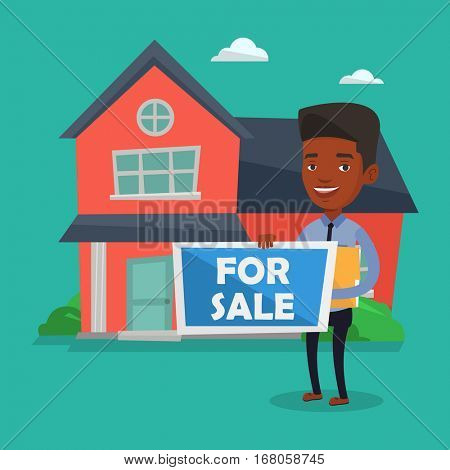 African-american confident broker offering the house. Young smiling broker holding placard for sale and documents in hands on the background of house. Vector flat design illustration. Square layout.